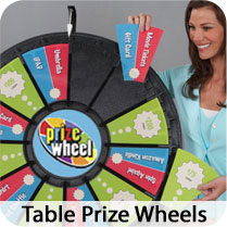 Standard, Mini and Micro Table Prize Wheels are Available